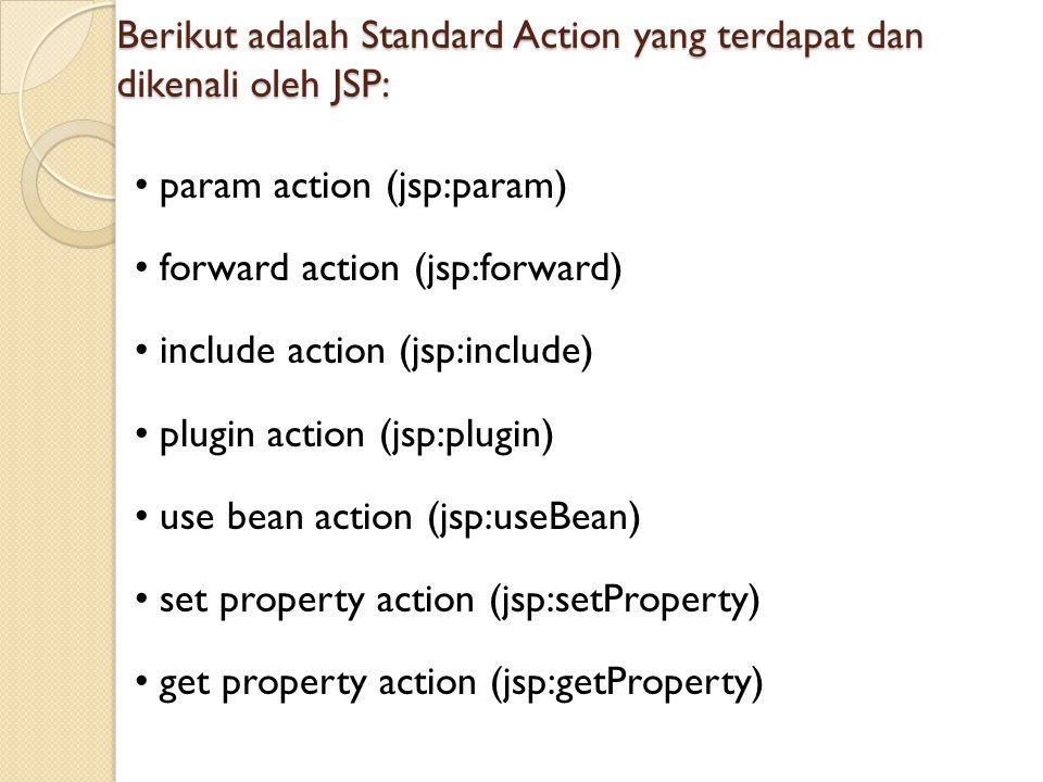 Berikut adalah Standard Action yang terdapat dan dikenali oleh JSP: