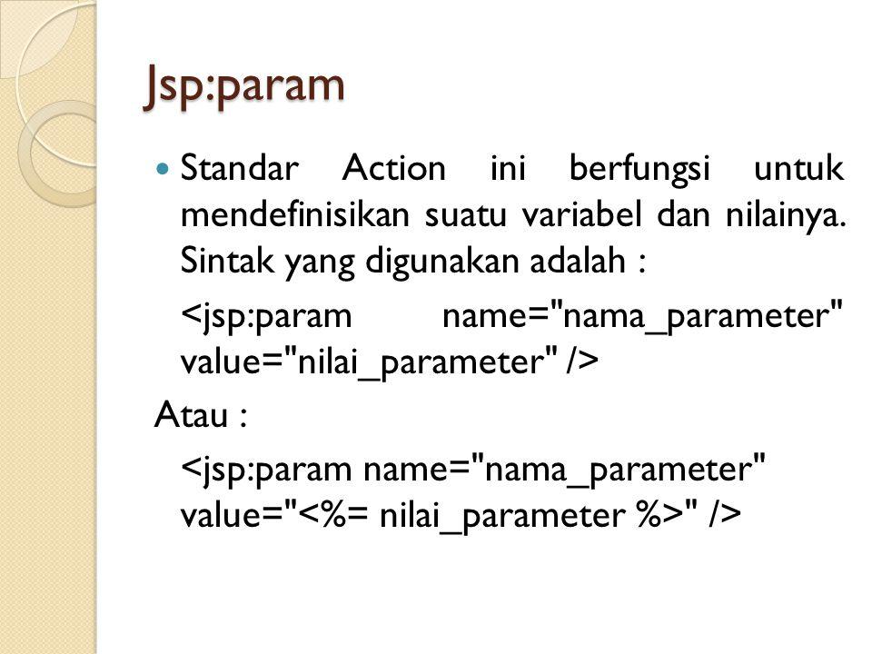 Jsp:param Standar Action ini berfungsi untuk mendefinisikan suatu variabel dan nilainya. Sintak yang digunakan adalah :
