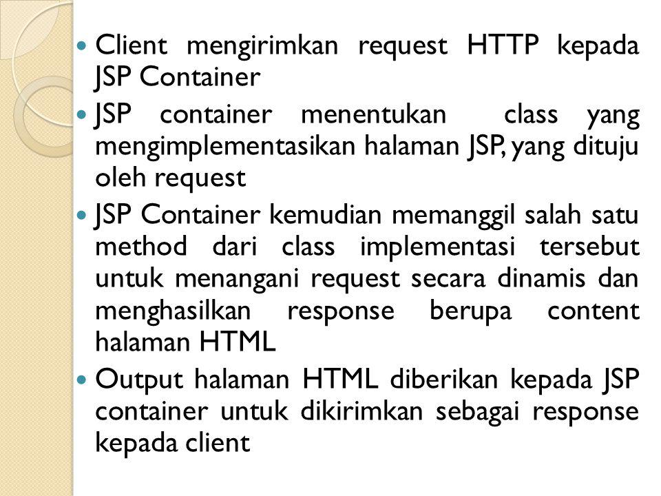 Client mengirimkan request HTTP kepada JSP Container