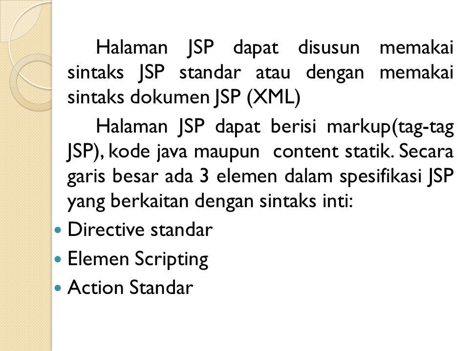 Halaman JSP dapat disusun memakai sintaks JSP standar atau dengan memakai sintaks dokumen JSP (XML)