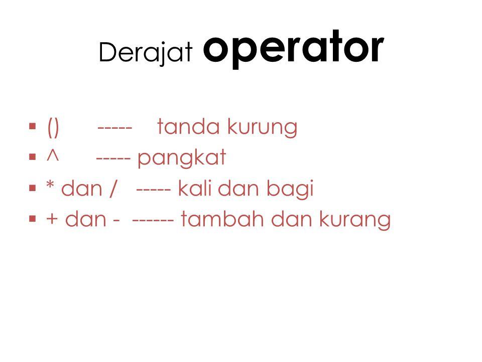 Derajat operator () ----- tanda kurung ^ ----- pangkat