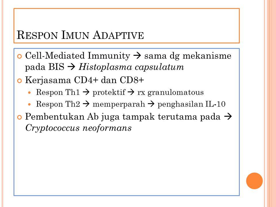 Respon Imun Adaptive Cell-Mediated Immunity  sama dg mekanisme pada BIS  Histoplasma capsulatum.