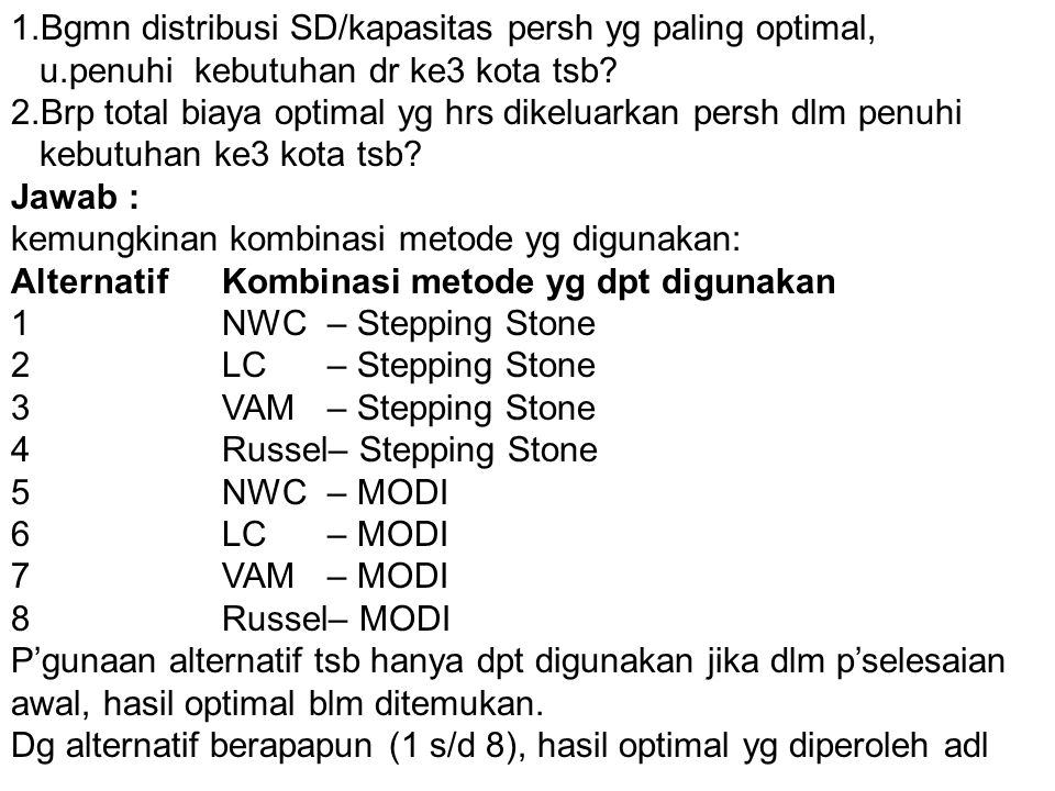 1.Bgmn distribusi SD/kapasitas persh yg paling optimal,