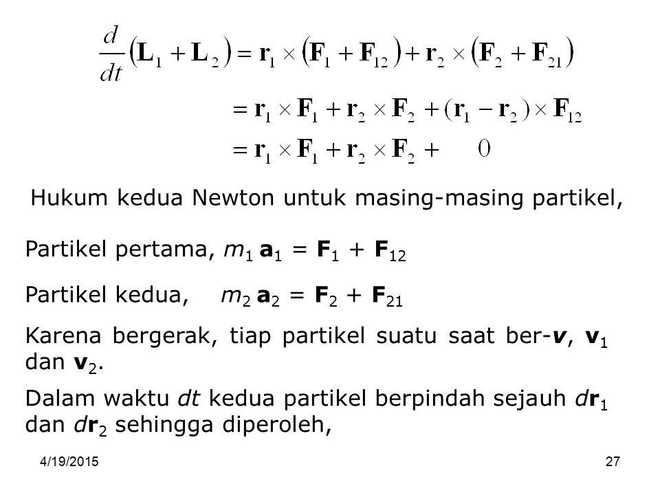 Hukum kedua Newton untuk masing-masing partikel,
