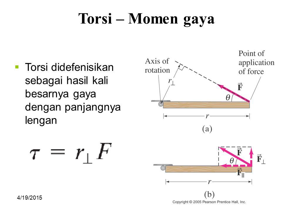 Torsi – Momen gaya Torsi didefenisikan sebagai hasil kali besarnya gaya dengan panjangnya lengan.