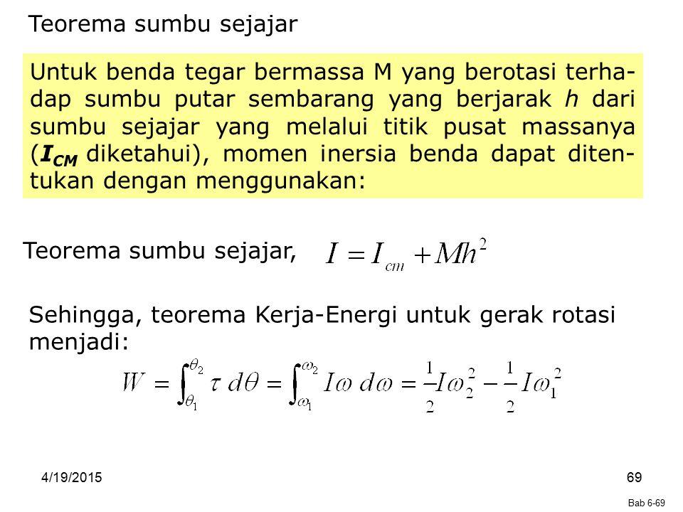 Sehingga, teorema Kerja-Energi untuk gerak rotasi menjadi: