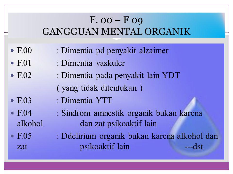 F. 00 – F 09 GANGGUAN MENTAL ORGANIK