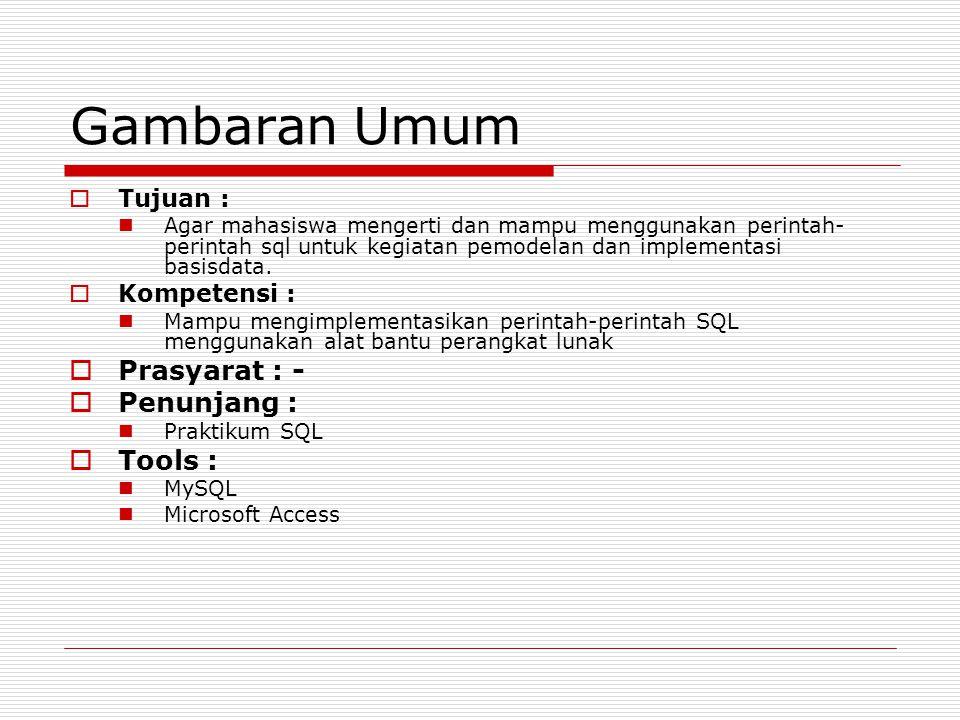 Gambaran Umum Prasyarat : - Penunjang : Tools : Tujuan : Kompetensi :