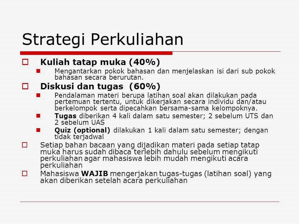 Strategi Perkuliahan Kuliah tatap muka (40%) Diskusi dan tugas (60%)