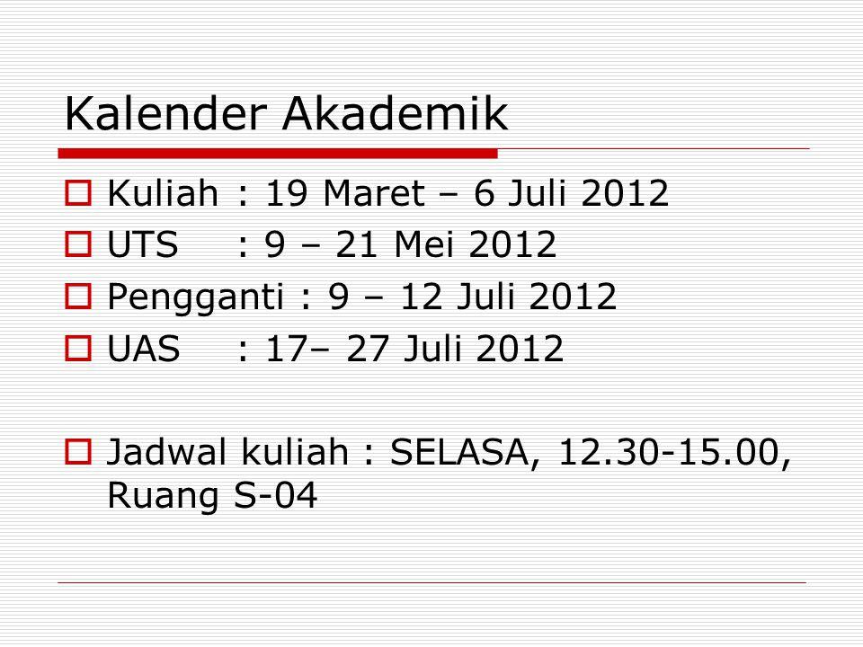 Kalender Akademik Kuliah : 19 Maret – 6 Juli 2012