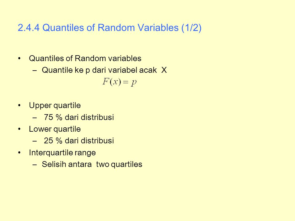2.4.4 Quantiles of Random Variables (1/2)