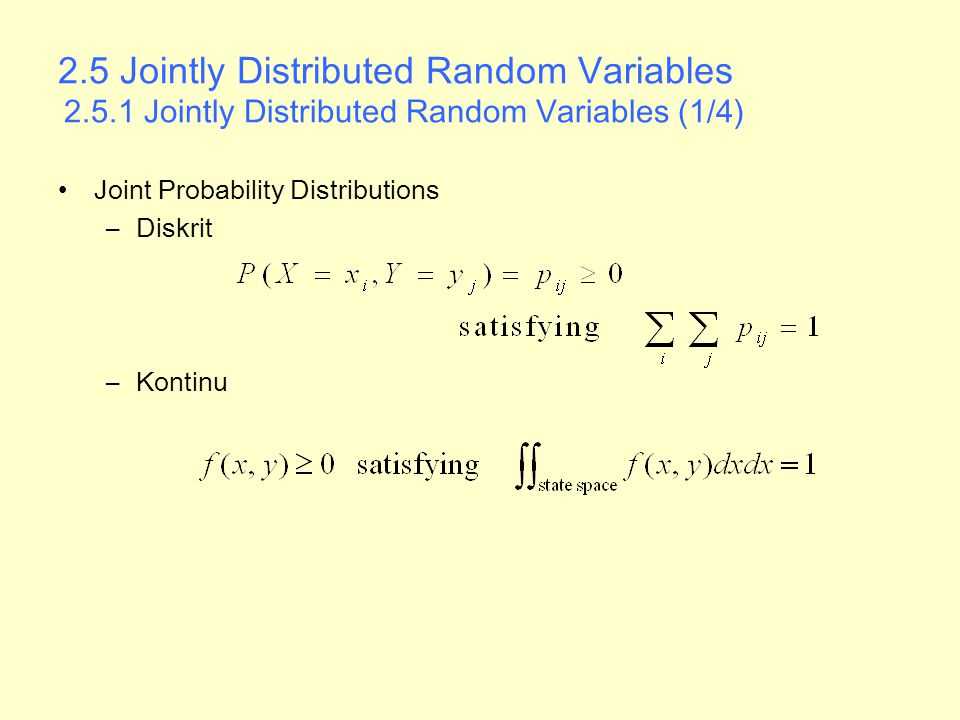 2. 5 Jointly Distributed Random Variables 2. 5