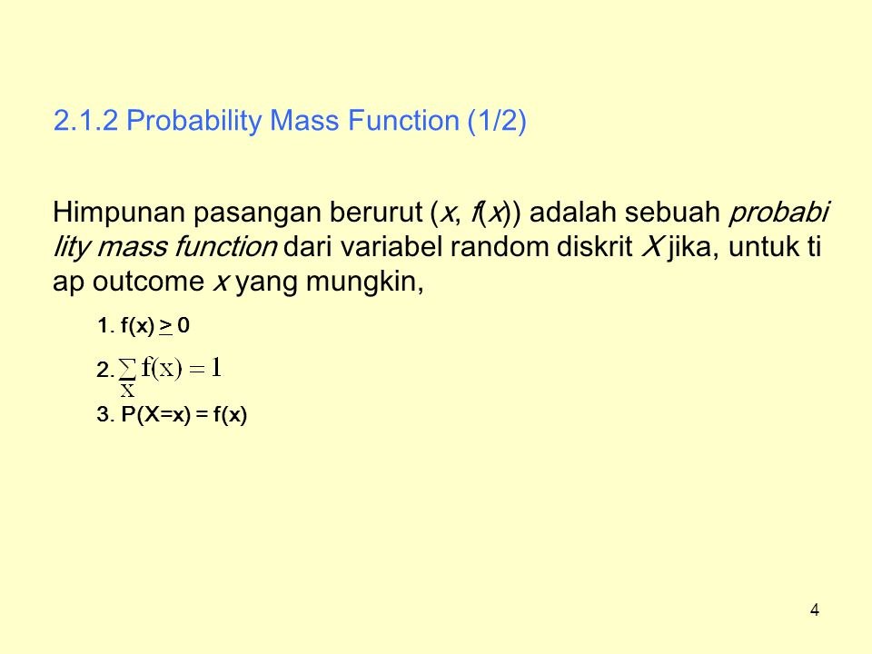 2.1.2 Probability Mass Function (1/2)