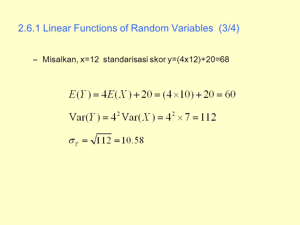 2.6.1 Linear Functions of Random Variables (3/4)