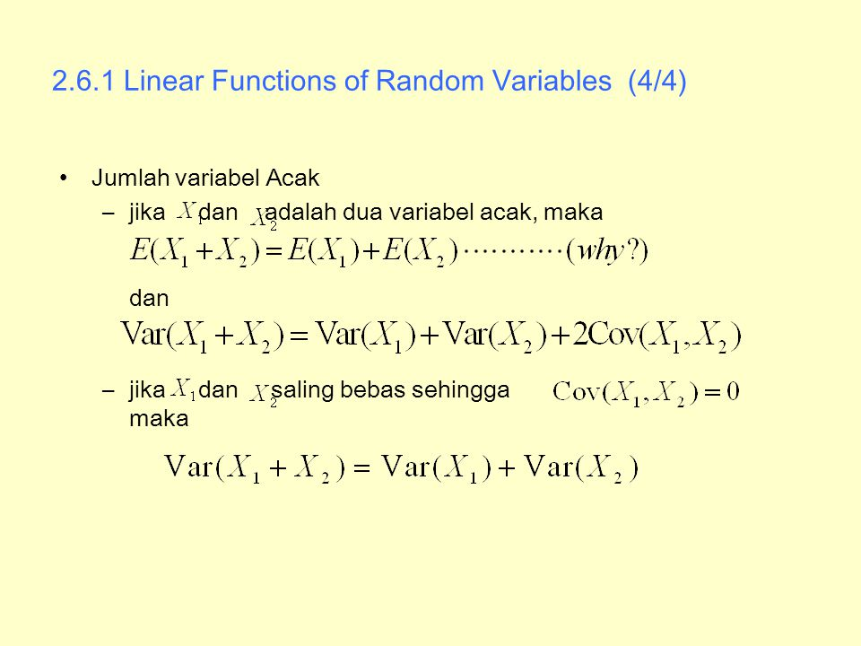 2.6.1 Linear Functions of Random Variables (4/4)
