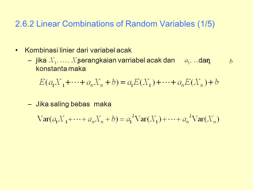 2.6.2 Linear Combinations of Random Variables (1/5)