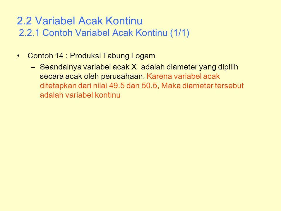 2.2 Variabel Acak Kontinu 2.2.1 Contoh Variabel Acak Kontinu (1/1)