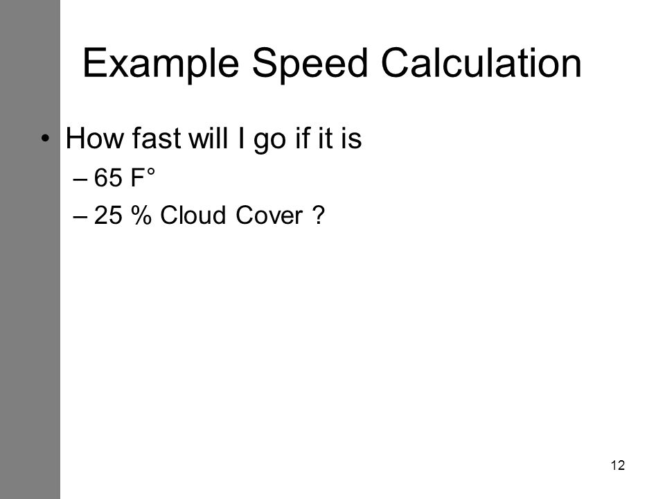 Example Speed Calculation