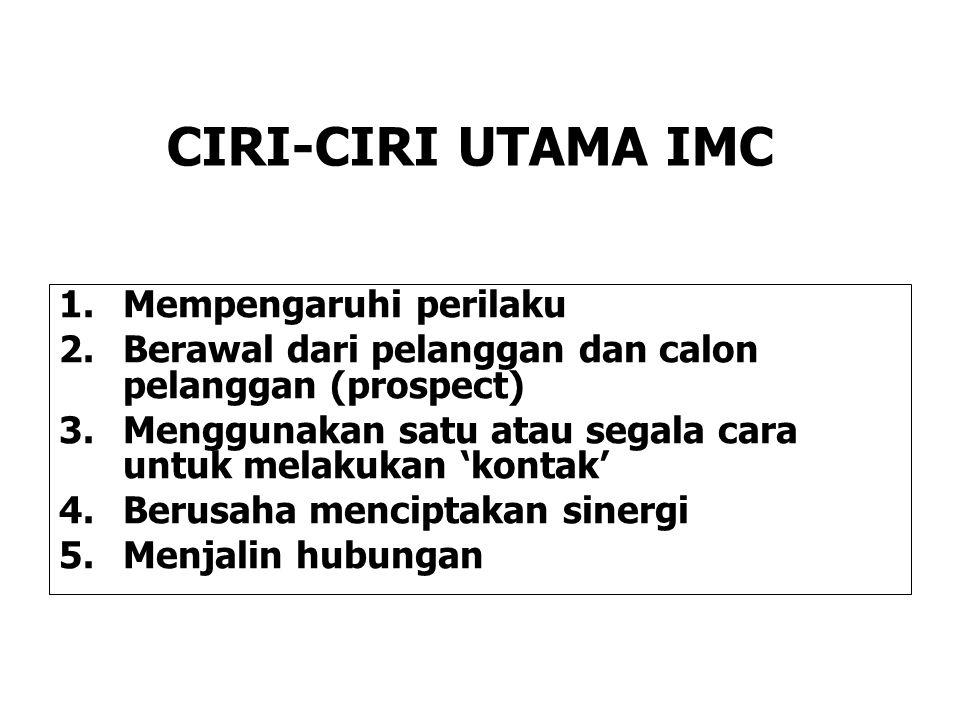 CIRI-CIRI UTAMA IMC Mempengaruhi perilaku