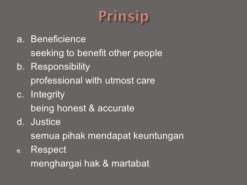Prinsip a. Beneficience seeking to benefit other people