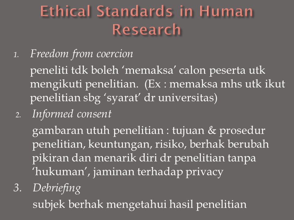 Ethical Standards in Human Research