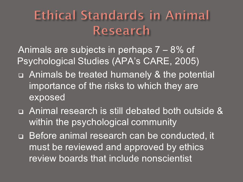 Ethical Standards in Animal Research
