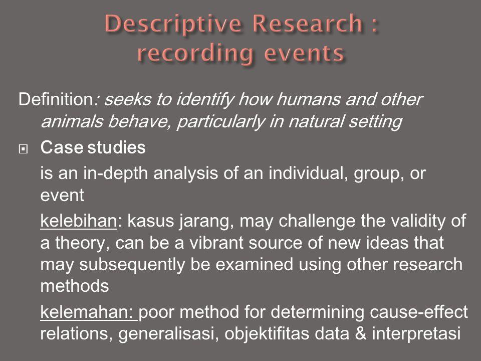 Descriptive Research : recording events