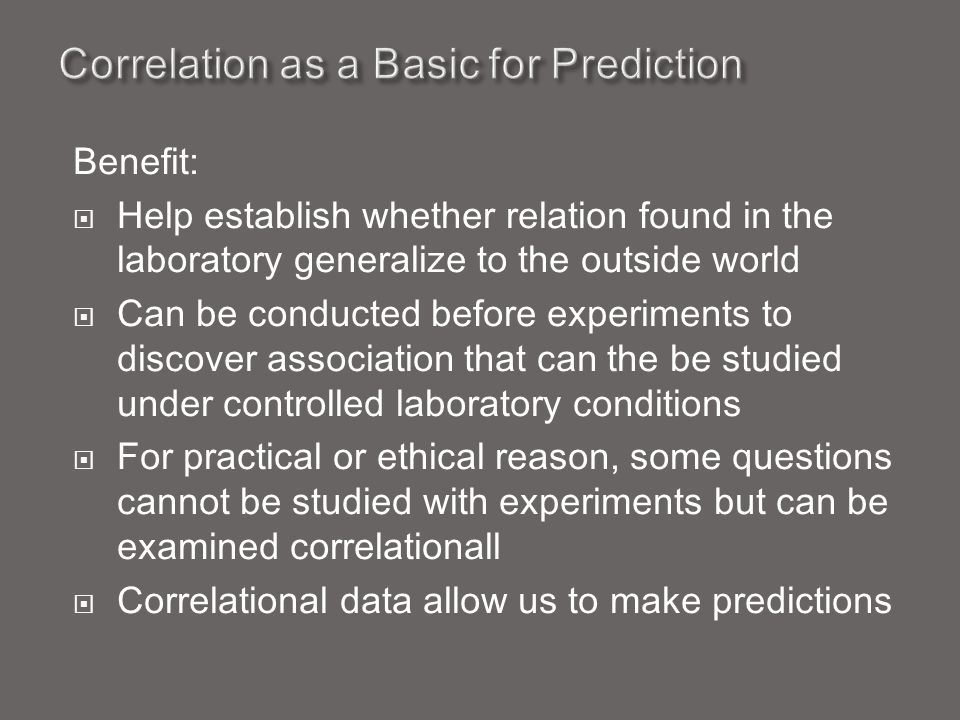 Correlation as a Basic for Prediction