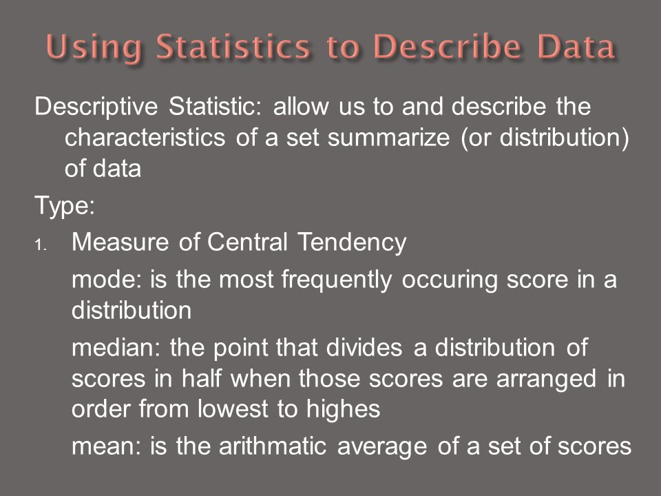 Using Statistics to Describe Data