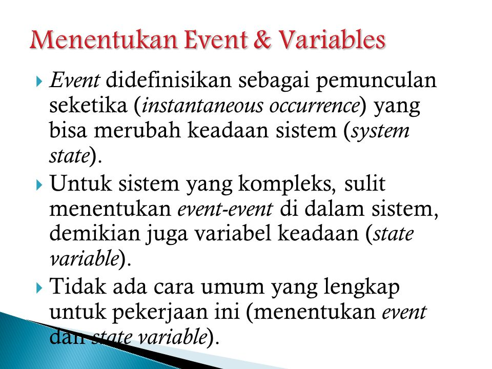 Menentukan Event & Variables