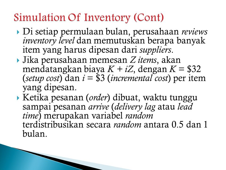Simulation Of Inventory (Cont)