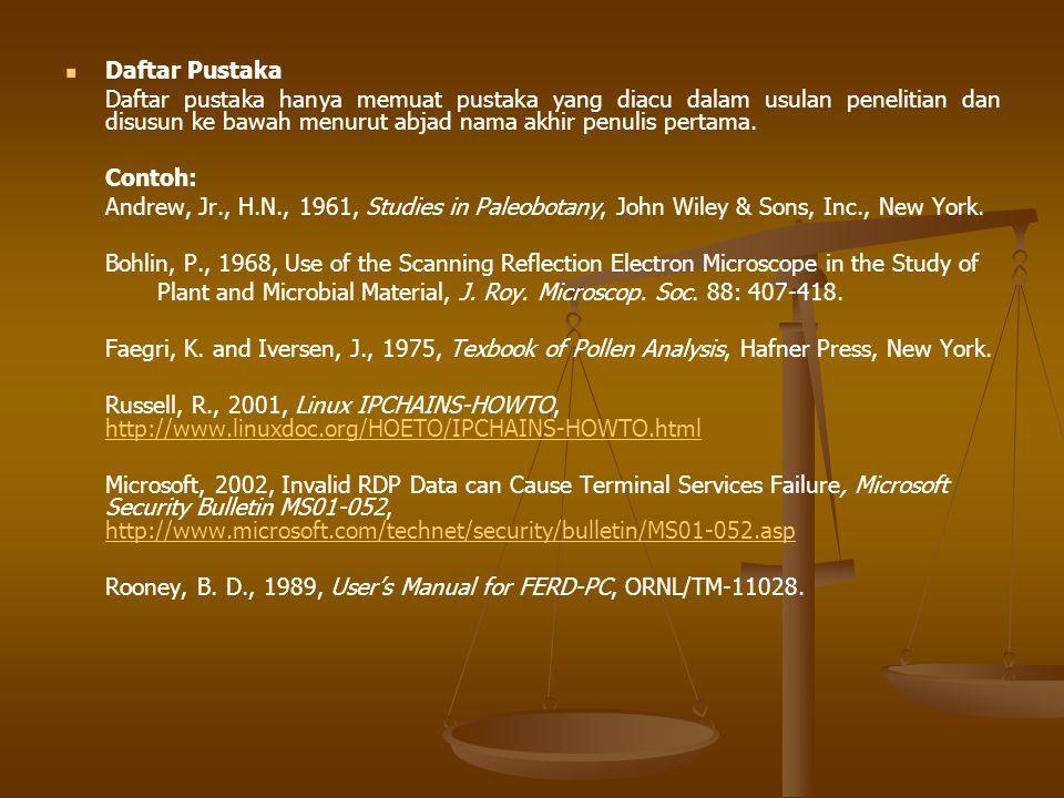Daftar Pustaka Daftar pustaka hanya memuat pustaka yang diacu dalam usulan penelitian dan disusun ke bawah menurut abjad nama akhir penulis pertama.