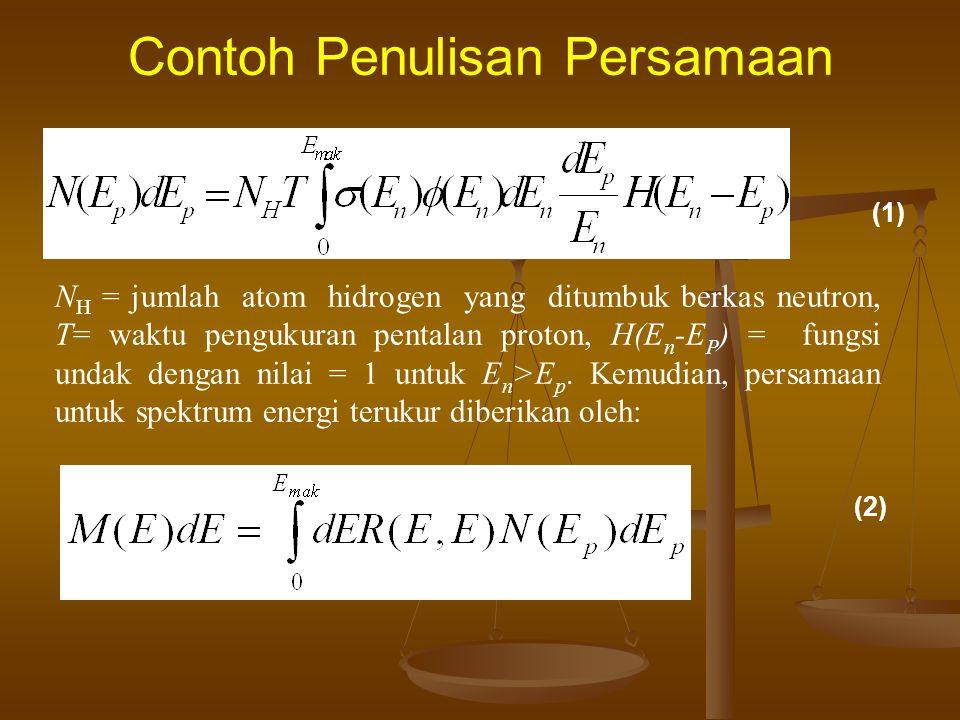 Contoh Penulisan Persamaan