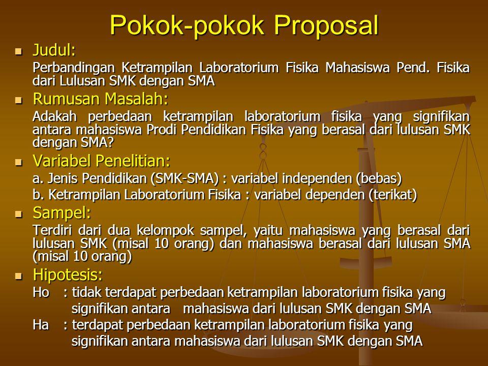 Pokok-pokok Proposal Judul: Rumusan Masalah: Variabel Penelitian: