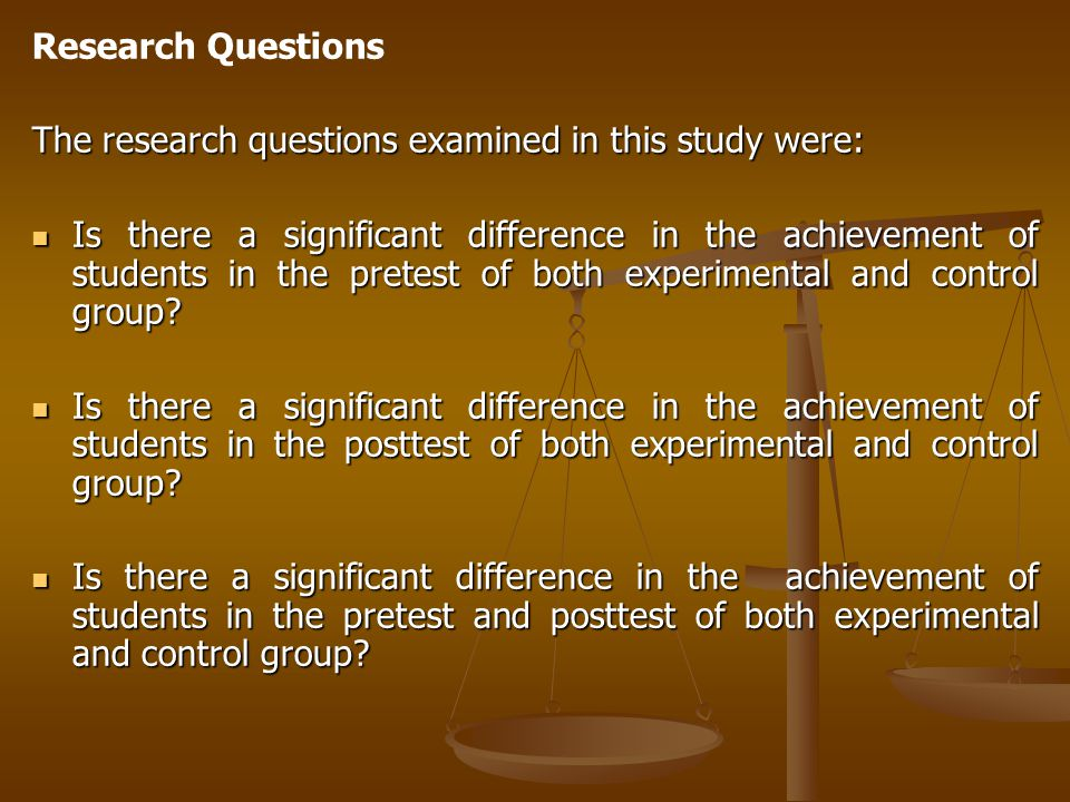 Research Questions The research questions examined in this study were: