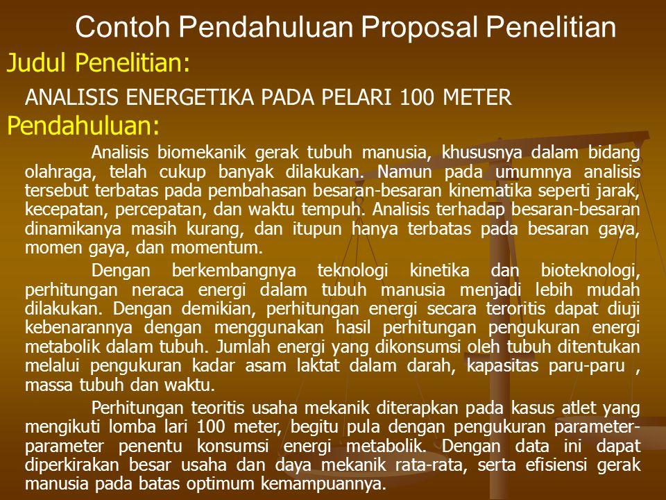 Contoh Pendahuluan Proposal Penelitian