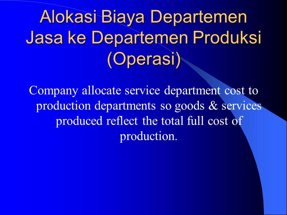Alokasi Biaya Departemen Jasa ke Departemen Produksi (Operasi)