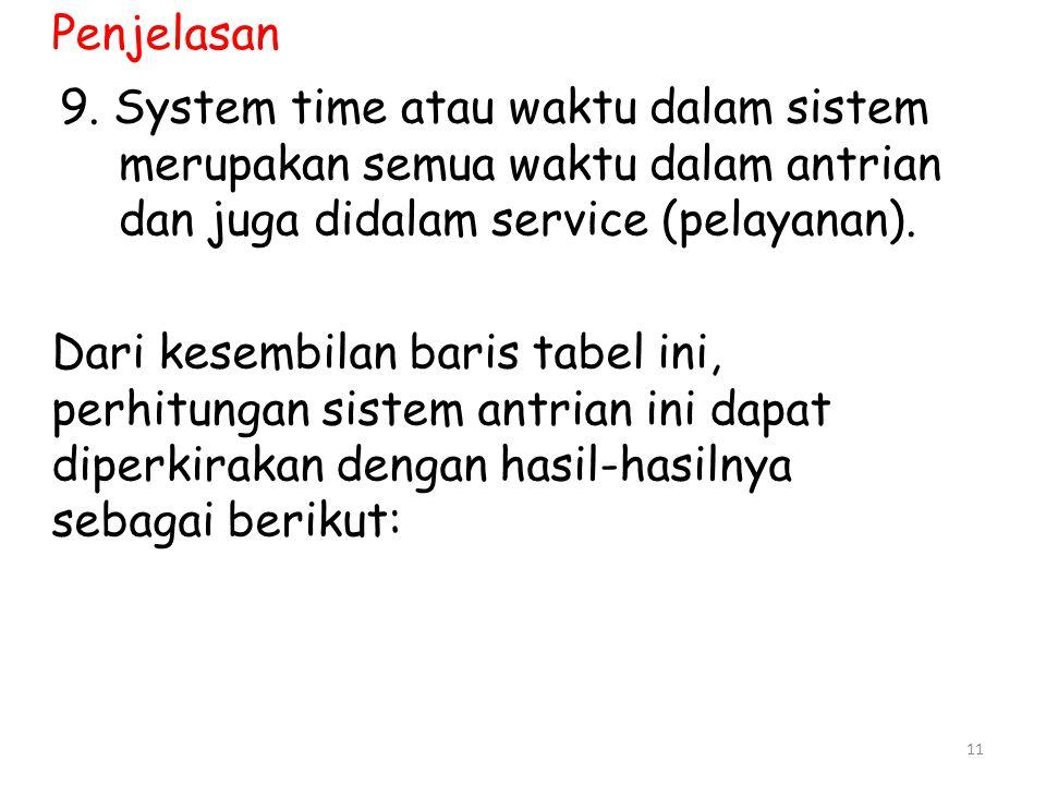 Penjelasan 9. System time atau waktu dalam sistem merupakan semua waktu dalam antrian dan juga didalam service (pelayanan).