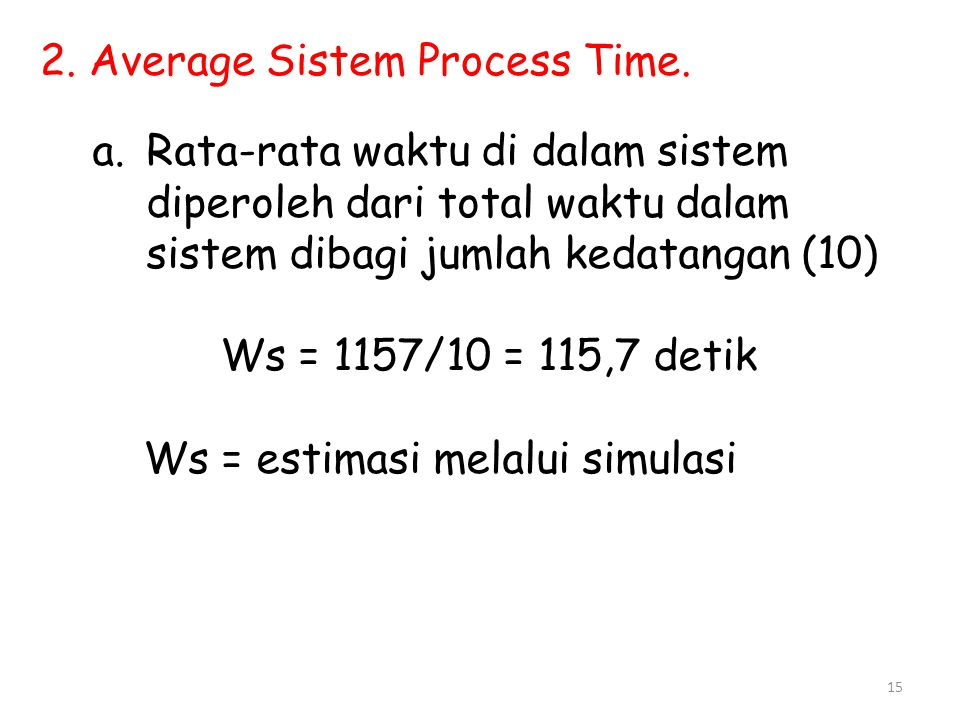 2. Average Sistem Process Time.