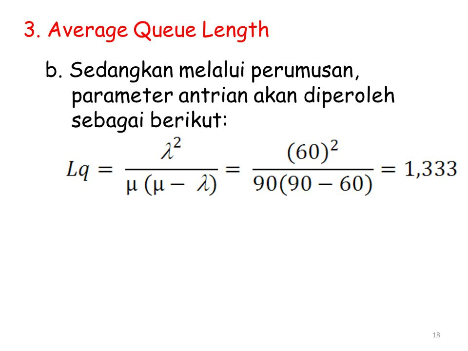 3. Average Queue Length b.