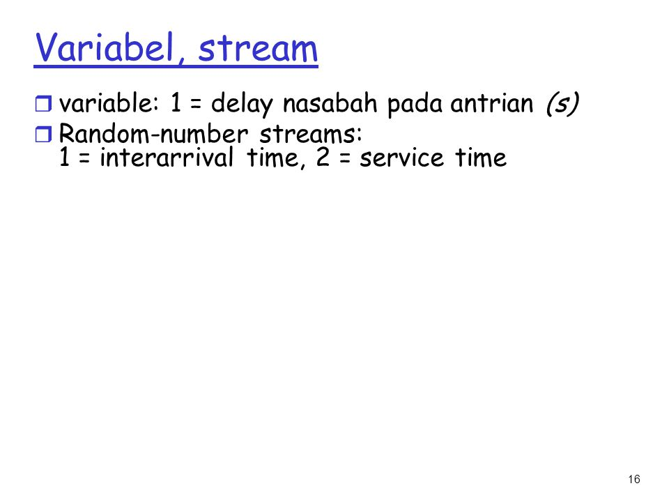 Variabel, stream variable: 1 = delay nasabah pada antrian (s)