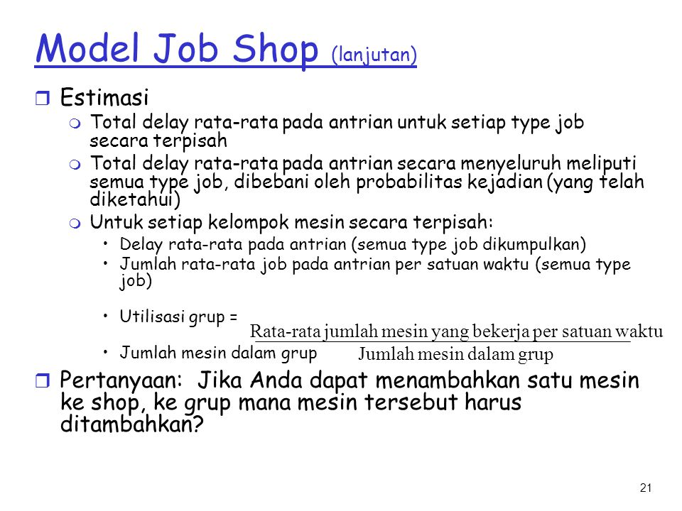 Model Job Shop (lanjutan)