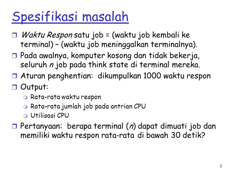 Spesifikasi masalah Waktu Respon satu job = (waktu job kembali ke terminal) – (waktu job meninggalkan terminalnya).