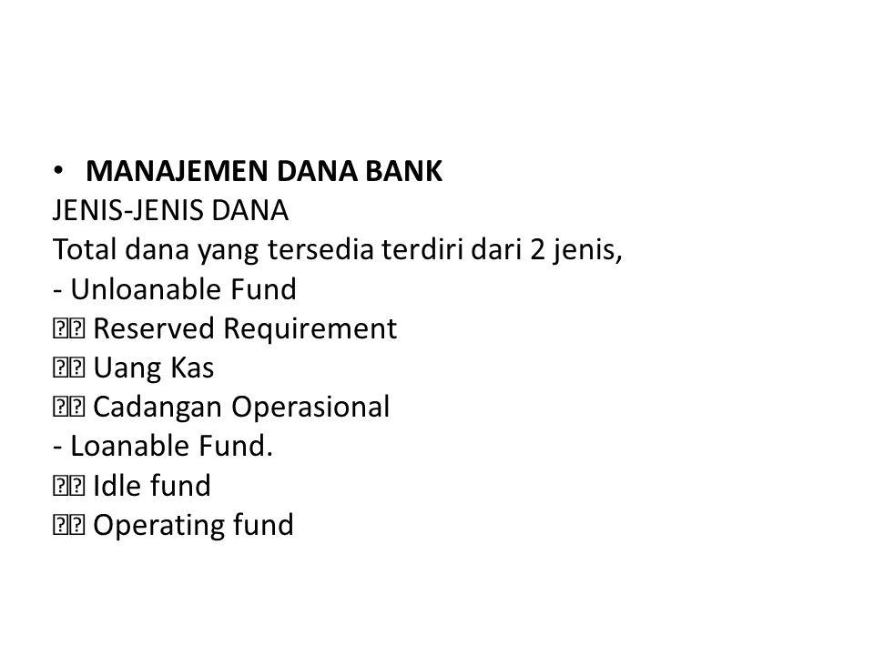 MANAJEMEN DANA BANK JENIS-JENIS DANA. Total dana yang tersedia terdiri dari 2 jenis, - Unloanable Fund.