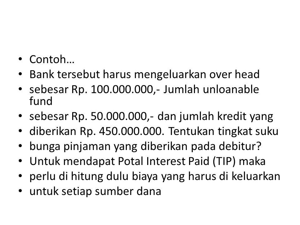 Contoh… Bank tersebut harus mengeluarkan over head. sebesar Rp. 100.000.000,- Jumlah unloanable fund.