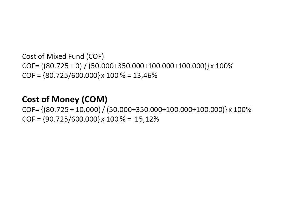 Cost of Money (COM) Cost of Mixed Fund (COF)