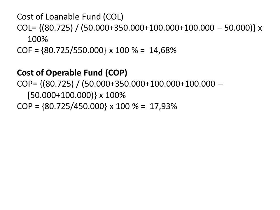 Cost of Loanable Fund (COL) COL= {(80. 725) / (50. 000+350. 000+100