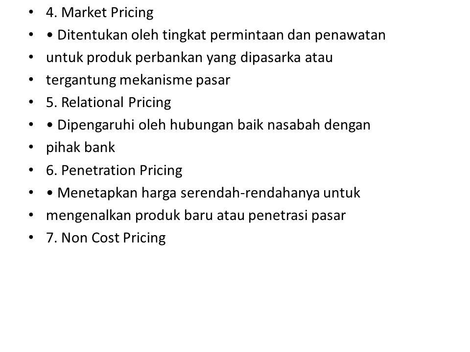 4. Market Pricing • Ditentukan oleh tingkat permintaan dan penawatan. untuk produk perbankan yang dipasarka atau.