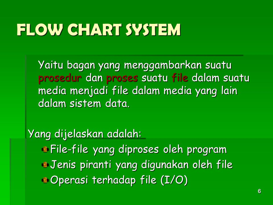 FLOW CHART SYSTEM Yang dijelaskan adalah: