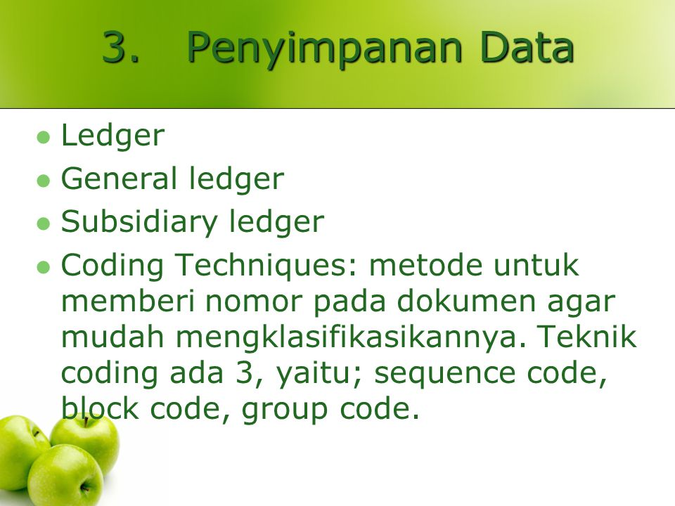 3. Penyimpanan Data Ledger General ledger Subsidiary ledger